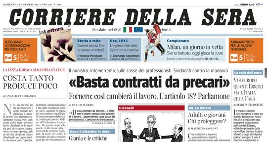 Il Corriere della Sera 18 dicembre 2011