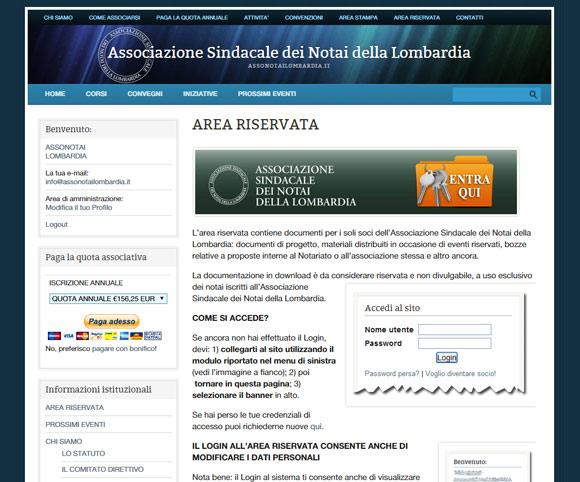 Area riservata, iscrizione e pagamento online per associarsi ad Assonotoailombardia
