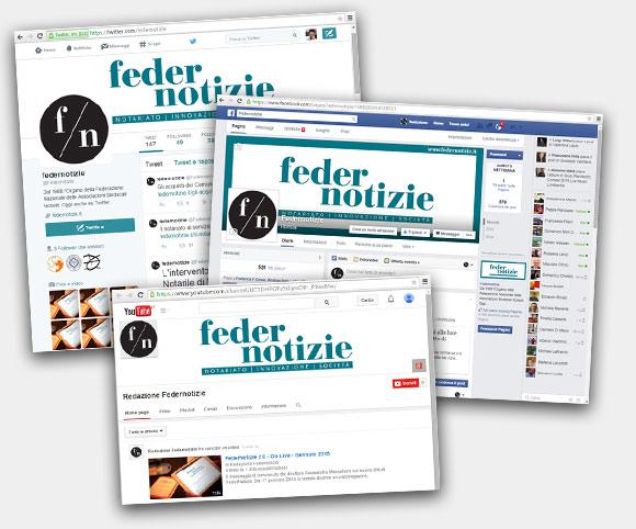 Federnotizie integra i canali social di Facebook, Twitter e YouTube