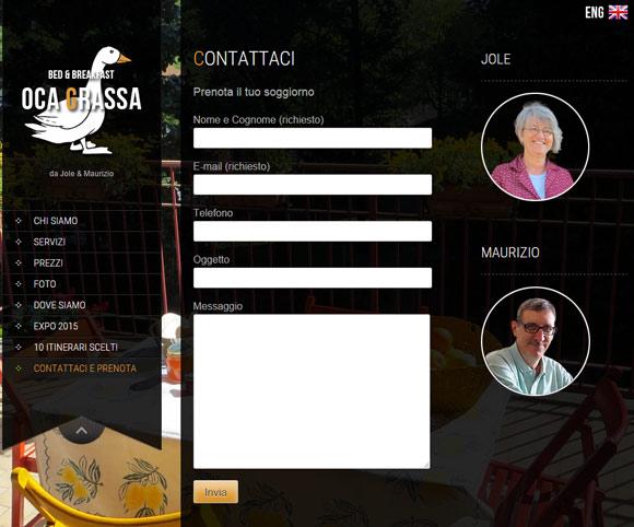 La pagina di contatto - Sito Oca Grassa B&B