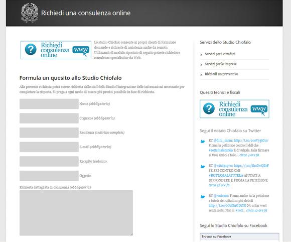 Modulo online per contattare lo studio del notaio Chiofalo