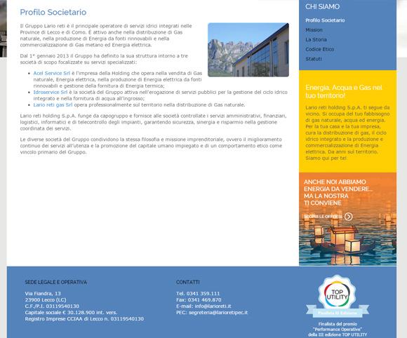 Profilo istituzionale per Web - Grandi aziende