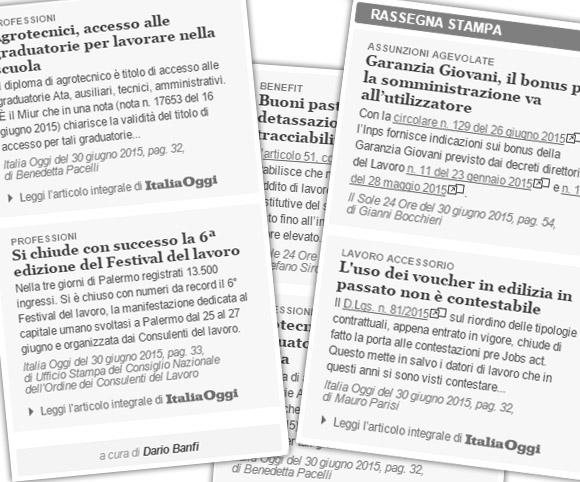 Rassegna Stampa in materia di lavoro - MySolution.it Lavoro