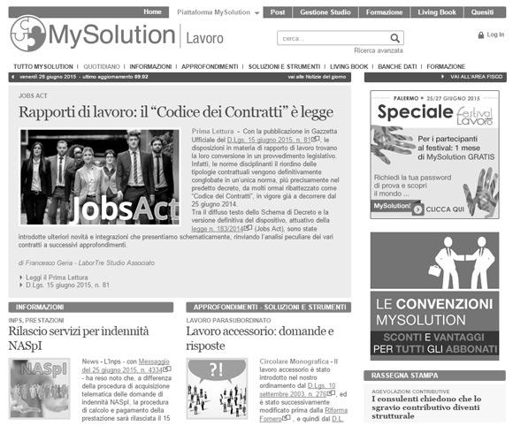 MySolution Lavoro - Servizi informativi online per i consulenti del lavoro
