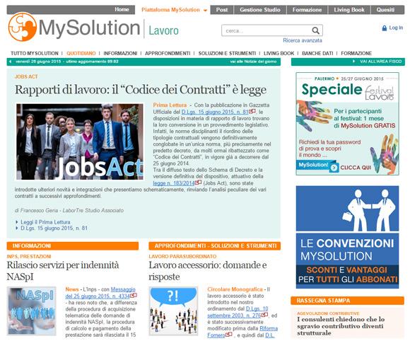 Notizie, approfondimenti e Leggi su MySolution Lavoro