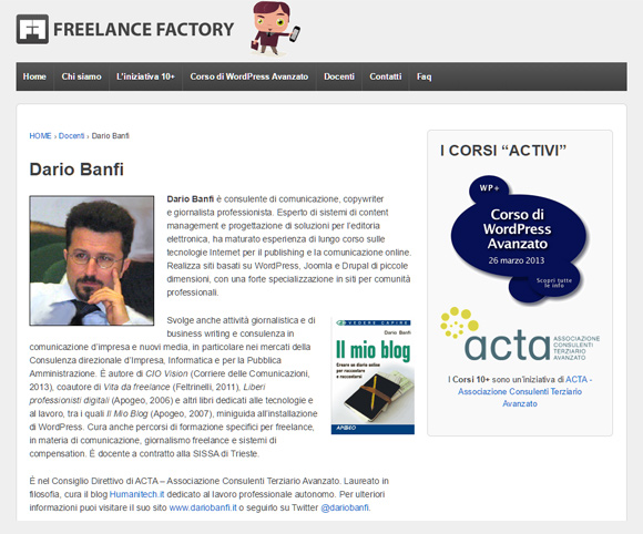 "Dario Banfi docente del corso ""WordPress Avanzato"""