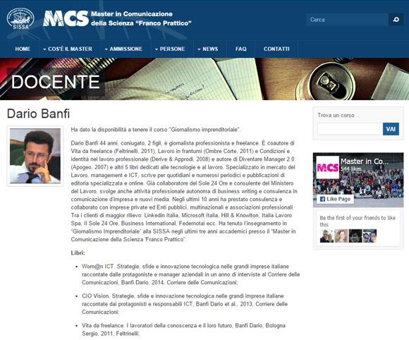 Docenza di Dario Banfi al Master in Comunicazione della Scienza presso la SISSA di Trieste