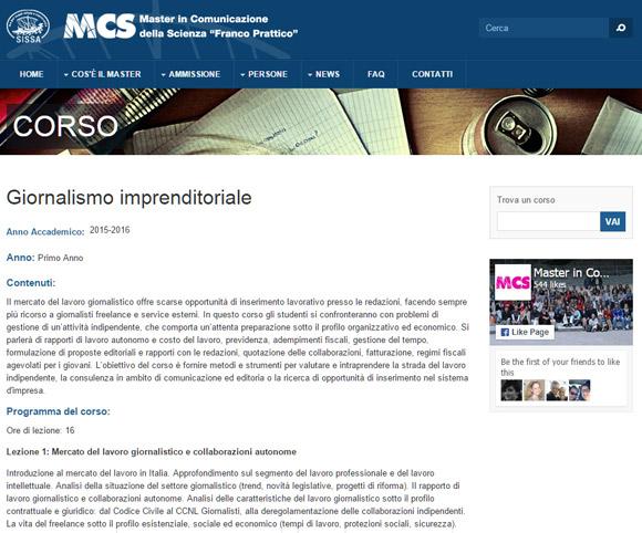 Giornalismo imprenditoriale - Corso a cura di Dario Banfi presso la SISSA di Trieste