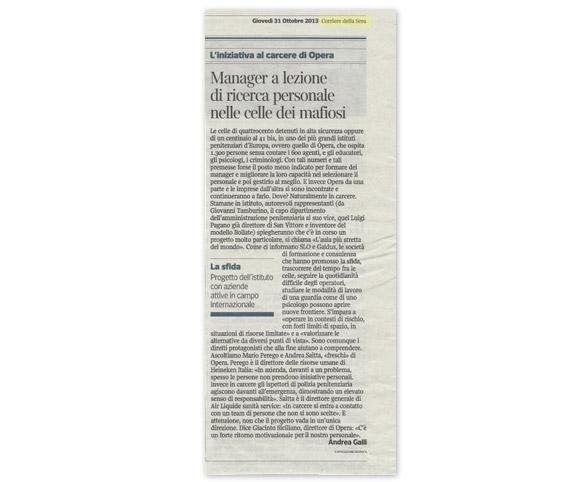 Uscita sul Corriere della Sera - Aula più stretta del mondo