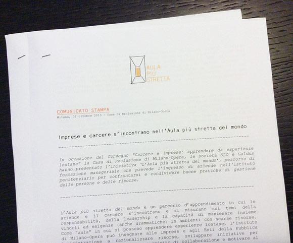 Comunicato stampa - Carcere e imprese
