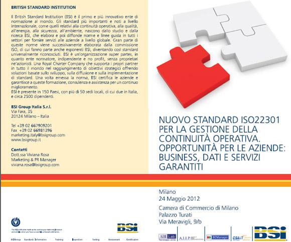 Convegno dedicato al Nuovo Standard ISO22301