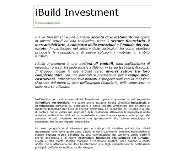 Scrittura di un profilo istituzionale per una nuova impresa del settore real estate