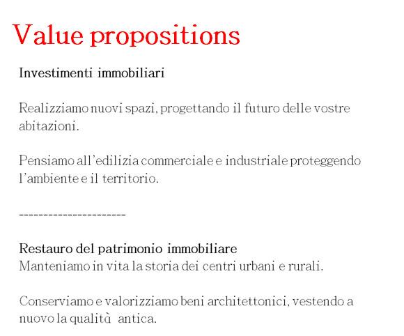 Value proposition - Creazione di messaggi ad hoc per clienti e investitori