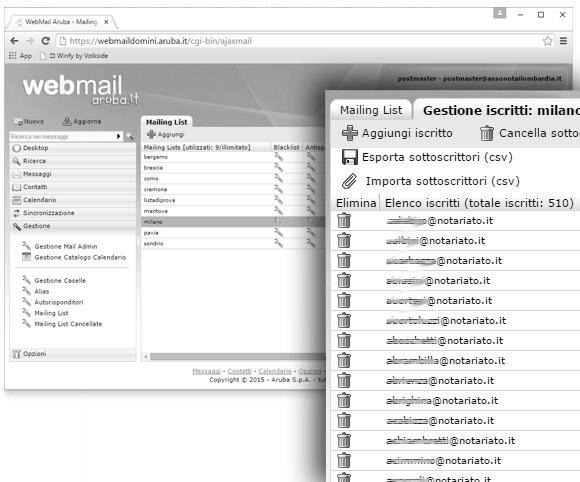 Sistema di Mailing List per i notai della Lombardia
