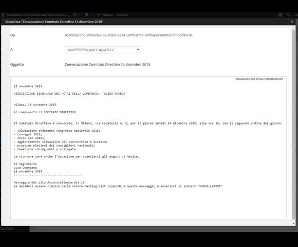 Un esempio di e-mail per un iscritto ad Assonotailombardia