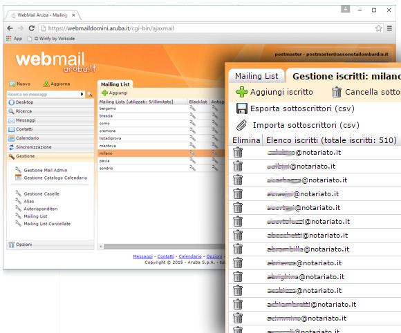 Sistema di Mailing List basato su strumenti forniti dall'Internet Provider