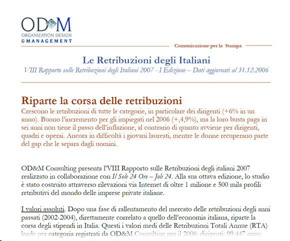 Comunicati stampa by Dario Banfi per OD&M Consulting