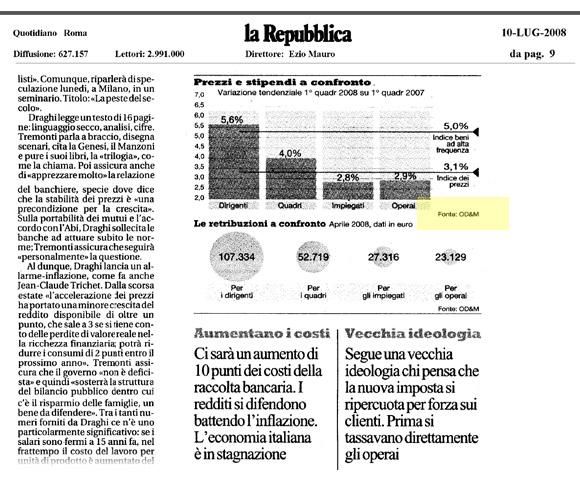 Le retribuzioni degli italiani: i dati OD&M Consulting su Repubblica