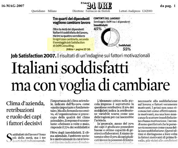 Le retribuzioni degli italiani: i dati OD&M Consulting sul Sole 24 Ore