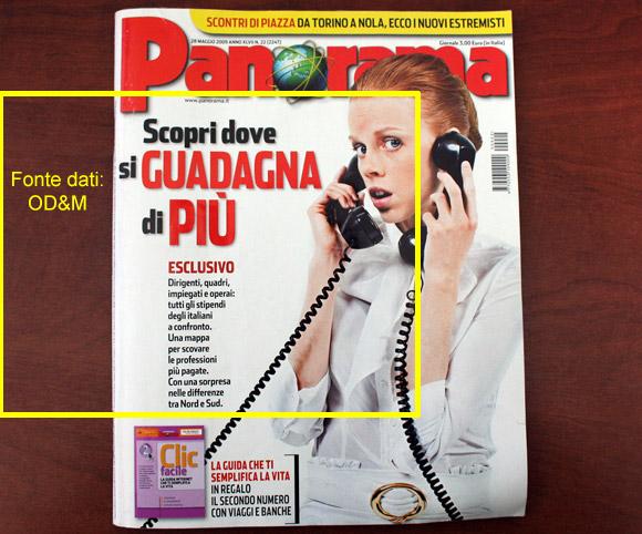 La copertina di PANORMA con dati OD&M Consulting sulle retribuzioni