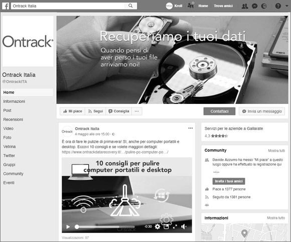 Gestione Pagina Facebook e social network