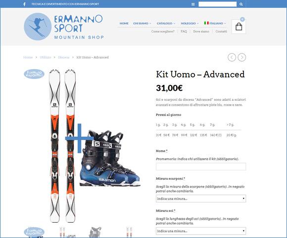 Negozio online per il noleggio invernale di sci, scaponi snowboard