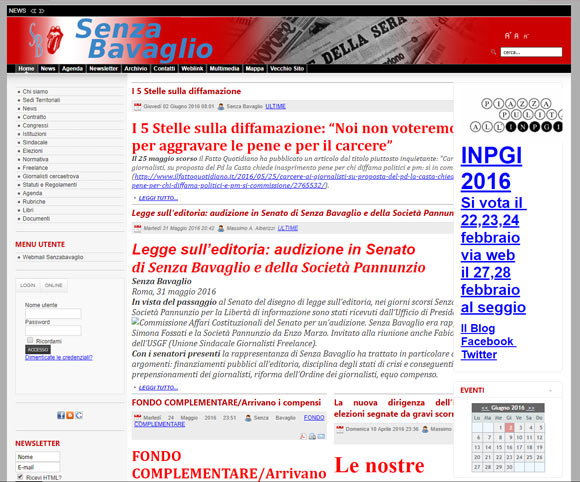 Senzabavaglio.info su piattaforma Joomla! prima della migrazione