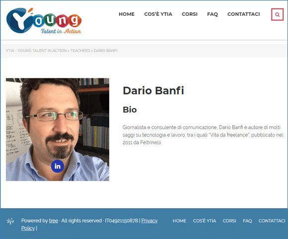 Dario Banfi è docente di YOUNG TALENT IN ACTION - YTIA