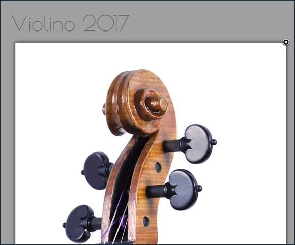 Dettagli fotografici di un violino - Funzione Lightbox - Sito by Dario Banfi