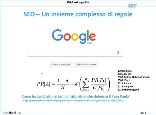 Il Page Rank di Google si modifica nel tempo
