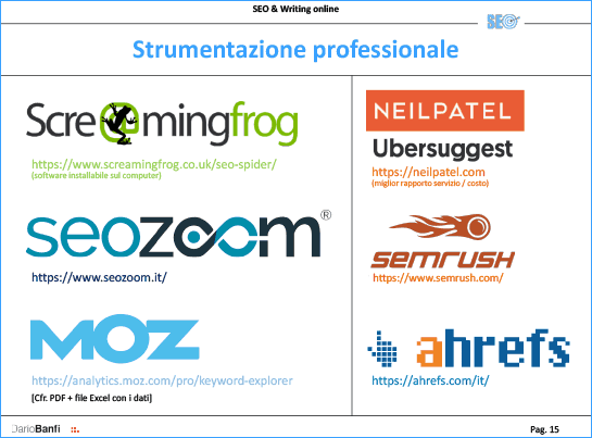 Best SEO tool: Screaming Frog, SeoZoom, MOz, Ubersuggest, SEMrush, AHref