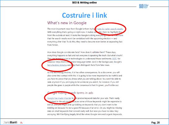 Costruire link: vanno collegate frasi significative, con parole adatte rispetto alla destinazione
