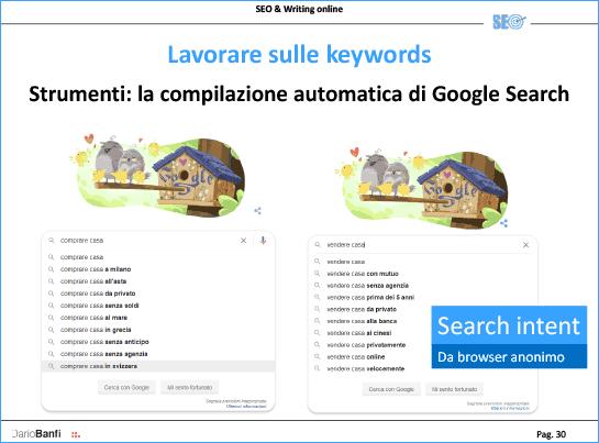 Scegliere le keyword usando la SEARCH INTENT mostrato con le ricerche su Google