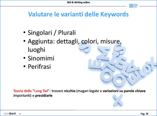 Per trovare keywords si possono creare plurali, aggiungere dettagli o aggettivi, usare sinonimi o perifrasi