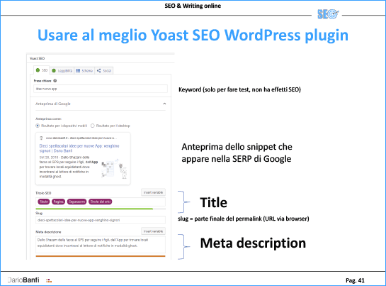 Con WordPress si può usare il plugin YOAST SEO per gestire METADATI, TITLE e META DESCRIPTION