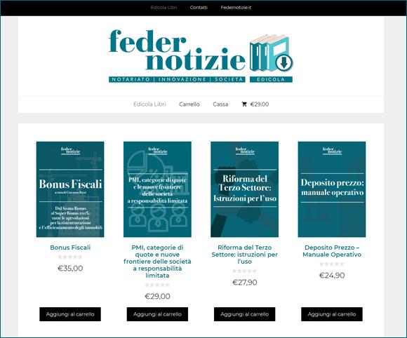 Ecommerce di e-book per la testata giornalistica di Federnotizie