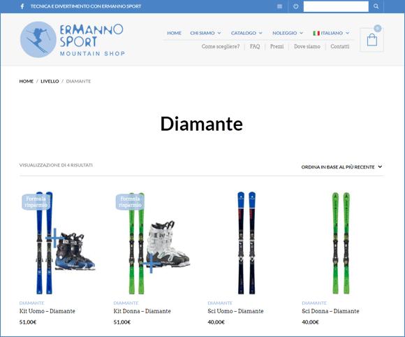 Gestione livello sci, categorie attrezzatura sportiva, classificazione per utilizzatore e tipo di discesa